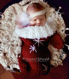 Knit Crochet Newborn Baby Mitten Cocoon or Christmas Stocking Red  Snowflakes Photo Prop Etsy.