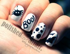 Spooky black and white nails by Polished love affair #nails #nailart #halloweennails