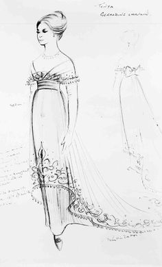"Wardrobe sketch for Geraldine Chaplin as Tonya. ""Doctor Zhivago"""