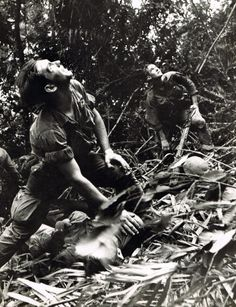 A paratrooper of A Company, Airborne, guides a medical evacuation helicopter through the jungle foliage to pick up casualties during a five-day patrol of an area southwest of Hue, South Vietnam, April Art Greenspon—AP Vietnam History, Vietnam War Photos, North Vietnam, Vietnam Veterans, Saigon Vietnam, American War, American Soldiers, American History, War Photography