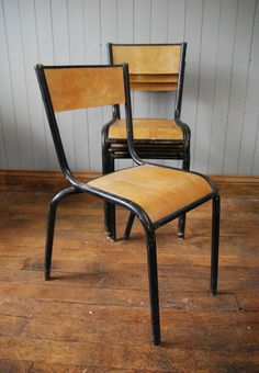 #StackingChairs #Vintage #French #TubularChairs #Chairs #Black #Metal #Wooden #VintageFurniture