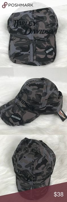 1f711b2381 New Harley Davidson Charcoal Camo Bar Shield Hat NEW HARLEY DAVIDSON  Motorcycles Charcoal Camo Bar Shield