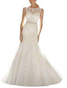 APXPF Women s Organza Lace Mermaid Wedding Dress Bride Gown - Ivory - Bridal  Dresses 81b6c66d45ad