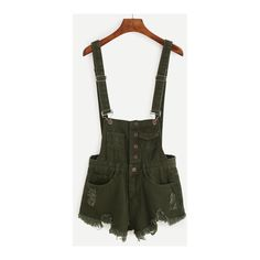 SheIn(sheinside) Buttoned Front Raw Hem Overall Denim Shorts - Olive... ($19) ❤ liked on Polyvore featuring shorts, green, denim short shorts, denim short overalls, overalls shorts, denim shorts overalls and olive green shorts