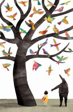 El canto de los pájaros acompaña el sonido de las letras (ilustración de Juan Palomino)