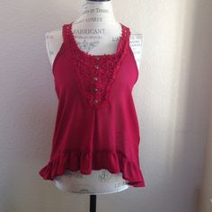 """💝 NWOT """"Cherry on Top"""" chiffon top Chiffon hi-lo tank top with ruffled hem, buttons and crochet detailing in the front and back Boutique Tops Blouses"""