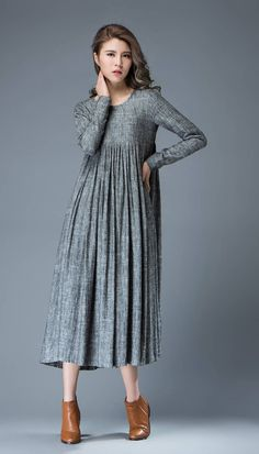 Casual Gray Dress Comfortable Linen Loose-Fitting by YL1dress