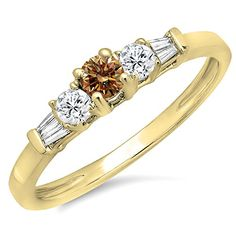 0.45 Carat (ctw) 14K Yellow Gold Champagne & White Diamond 3 Stone Engagement Bridal Ring (Size 9). Other ring sizes may be shipped sooner. Most rings can be resized. Items is smaller than what appears in photo. Photo enlarged to show detail. Satisfaction Guaranteed. Return or exchange any order within 30 days. All our diamonds are conflict free. Gemstone : Diamond.