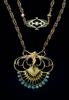 René Lalique, Paris. Necklace, c1910.In the shape of a young lady, long wavy hair, dress fan-like, in the manner of a peacock wheel. 5 x 5.6 cm. Chain: 122 cm. Yellow gold, dress enamelled, part of it plique-à-jour, 12 opal cabochons, the middle part of the chain also enamelled, part of it plique-à-jour, 3 opals. Ca62 gr. Stamped: LALIQUE, French import punch for gold