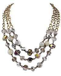 """17"""" + EXT Burnished Gold W/ White Semi-precious Stone & Glass Crystal Multi Row Necklace Retail - $36.26 You Pay - $18.13 w/ free shipping in the US."""