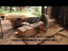 Turning a tree into lumber using a homemade Alaskan Mill - YouTube