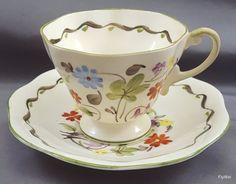 EB Foley China V2571 Tea Cup and Saucer Cream Bone China Floral ca 1930 England