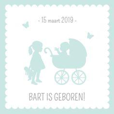Blauw geboortekaartje silhouette kinderwagen zus