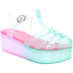 Hot Topic Pink & Seafoam T-Strap Jelly Flatform Sandals ($20) ❤ liked on Polyvore featuring shoes, sandals, t strap sandals, ankle strap sandals, ankle wrap shoes, flatform shoes and t bar sandals #JellyShoesAesthetic