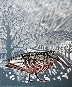 Woodcock brown - grey blue bird wildlife linocut