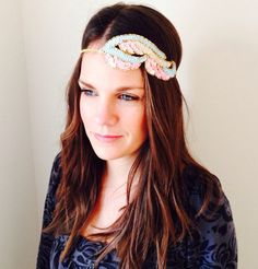 Sequin Pastel Boho Headband, Festival Headband, Wedding Headpiece, fascinator, 1920s headpiece, flapper headband, sequin headband
