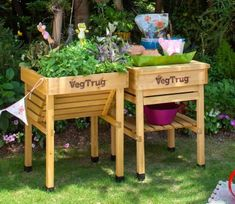 Encouraging children's interest in gardening and getting them out of the house into the fresh air, is obviously a good idea, and the Kids Planter from Veg Trug is ideal for this purpose. Wood Raised Garden Bed, Wooden Garden Planters, Raised Planter, Veg Trug, Planters For Sale, Garden Site, Strawberry Planters, Vertical Garden Diy, Colorful Plants
