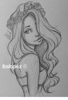 Cartoon Drawings drawing and itslopez image - Girl Drawing Sketches, Cool Art Drawings, Pencil Art Drawings, Amazing Drawings, Girl Drawings, Girl Sketch, Hipster Drawings, Manga Drawing, Drawing Art