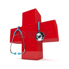 3d rendered stethoscope with first aid cross  isolated over white background