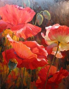 """Although no title or artist is listed with this image, I believe it to be the work of Leon Roulette, who has painted many stunning """"poppy portraits."""" Such a happy flower! Source was jpeg. Abstract Watercolor, Watercolor Flowers, Watercolor Paintings, Arte Floral, Beautiful Paintings, Art Oil, Painting Inspiration, Flower Art, Beautiful Flowers"""