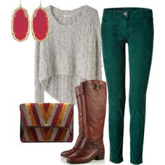 Oversized sweater, emerald green pants, brown leather boots