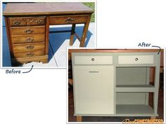 Completely reconstruct an old desk into a kitchen island by Deeconstructed.com