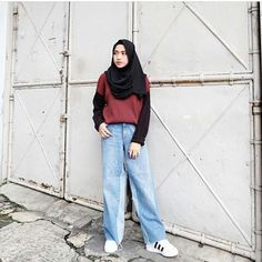 31 Ideas Fashion Hijab Remaja 2018 For 2019 Casual Hijab Outfit, Casual Work Outfits, Retro Outfits, Hijab Fashion Casual, Muslim Fashion, Korean Fashion, Niqab, Trendy Fashion, Fashion Outfits