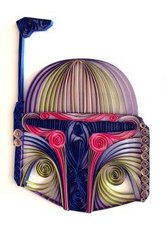 Star Wars quilling artpiquants casque de Boba Fett par AliaDesign