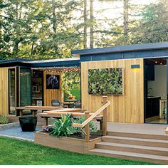 Modern cottage | Sunset.com  This modular project from San Francisco-based prefab firm Modern Cabana works as a vacation getaway or backyard guest suite and home office.
