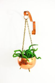 Vintage Hanging Footed Copper Planter by Coppercraft Guild