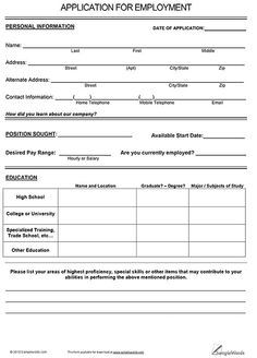 Free Employment Applications To Print | Job Application Form ...