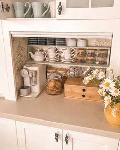 - my boards Coffee Station Kitchen, Coffee Bars In Kitchen, Coffee Bar Home, Home Coffee Stations, Coffee Corner, Tea Organization, Kitchen Organisation, Tea Station, Decorating Kitchen