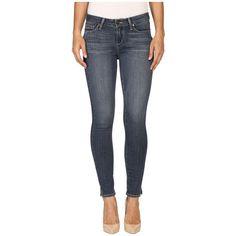 Paige Verdugo Ankle w/ Side Slits in Fletcher (Fletcher) Women's Jeans ($199) ❤ liked on Polyvore featuring jeans, frayed skinny jeans, blue skinny jeans, stretchy skinny jeans, stretch skinny jeans and grey jeans