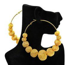 Basketball Wives Poparazzi Inspired Gold Mesh Ball Hoop Earrings