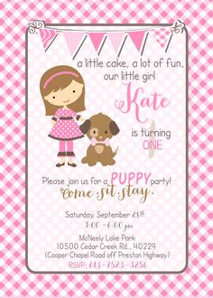 Little Girl & Her Puppy Party Invite and by CherryBerryDesign