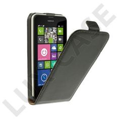 Idaho (Sort) Nokia Lumia 630/635 Ægte Læder Flip Etui