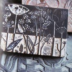 CAROLYN SAXBY MIXED MEDIA TEXTILE ART: December. Angue Lewin's nature prints