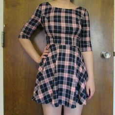 Cute Plaid Dress $$MOVING SALE$$ 6 in Australia which is a 2 in the US   MOVING SALE!!!!! CLOSET CLEAR OUT! Taking all offers made using the button, I also give great deals on bundles! Note: I do not take offers $5 or less. Also I do not trade. Paradisco Dresses Long Sleeve