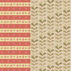 """Jacobean"" dupla faixa geométrica e floral - clara (estampa digital)"