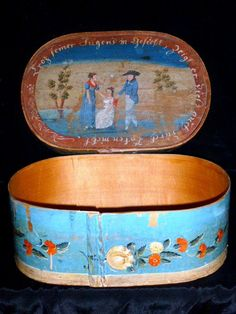 """Top and side view of brides box.Late 18th century.The mother is telling the young gentleman""""your personality does not match your appearance"""".In very good condition.Rare blue color"""