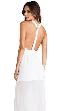 BCBGMAXAZRIA BCBGeneration Y Back Princess Slit Gown in White Ink | REVOLVE