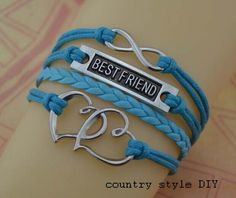 Infinity bracelets best friends bracelets heart by CountrystyleDIY, $4.99