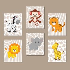 ★BOY Animal Wall Art Boy Animal Nursery Jungle Safari Animals Baby Boy Nursery Wall Art Boy Bedroom Wall Art Boy Nursery Decor Boy Set of 6  ★Includes 6 pieces of wall art ★Available in PRINTS or CANVAS (see below)  ★SIZING OPTIONS Available from the drop down menu above the add to cart button with prices. >>>  ★PRINT OPTION Available sizes are 5x7, 8x10, & 11x14 (inches). Prints are created digitally and printed with UltraChrome Hi-Gloss ink on professional 68lb satin luster photo paper…