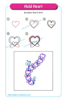22 ideas drawing heart tutorial tangle patterns for 2019 Zentangle Drawings, Doodles Zentangles, Doodle Drawings, Doodle Art, Zen Doodle Patterns, Doodle Designs, Zentangle Patterns, Tangle Doodle, Tangle Art