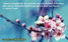 Soyons reconnaissants aux personnes qui nous donnent du bonheur ; elles sont les charmants jardiniers par qui nos âmes sont fleuries. Marcel Proust #gratitude