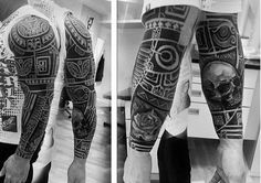 Maori Tribal Tattoo With Skull And Rose Flower For Men