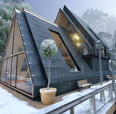 Sustainable Architecture, Residential Architecture, Architecture Design, Pavilion Architecture, Contemporary Architecture, Architecture Durable, A Frame House Plans, A Frame Cabin, Cabins In The Woods