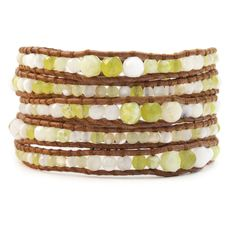 OLIVE MIX GRADUATED WRAP BRACELET ON NATURAL BROWN LEATHER by Chan Luu $198.00