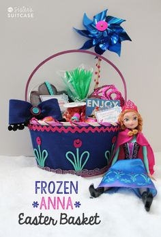 FROZEN Anna Easter Basket via sisterssuitcaseblog.com #Easter #Frozen #kids