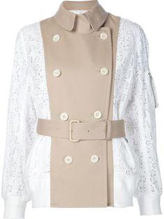 Sacai куртка-бомбер с кружевной отделкой